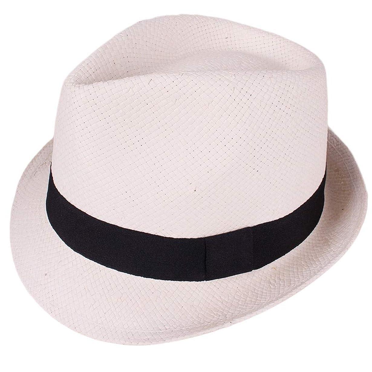 かけがえのない注入余計な日よけ帽 日曜日の帽子メンズ手作りの白い旅行日焼け止め麦わら帽子夏56-58 cm ZHAOSHUNLI