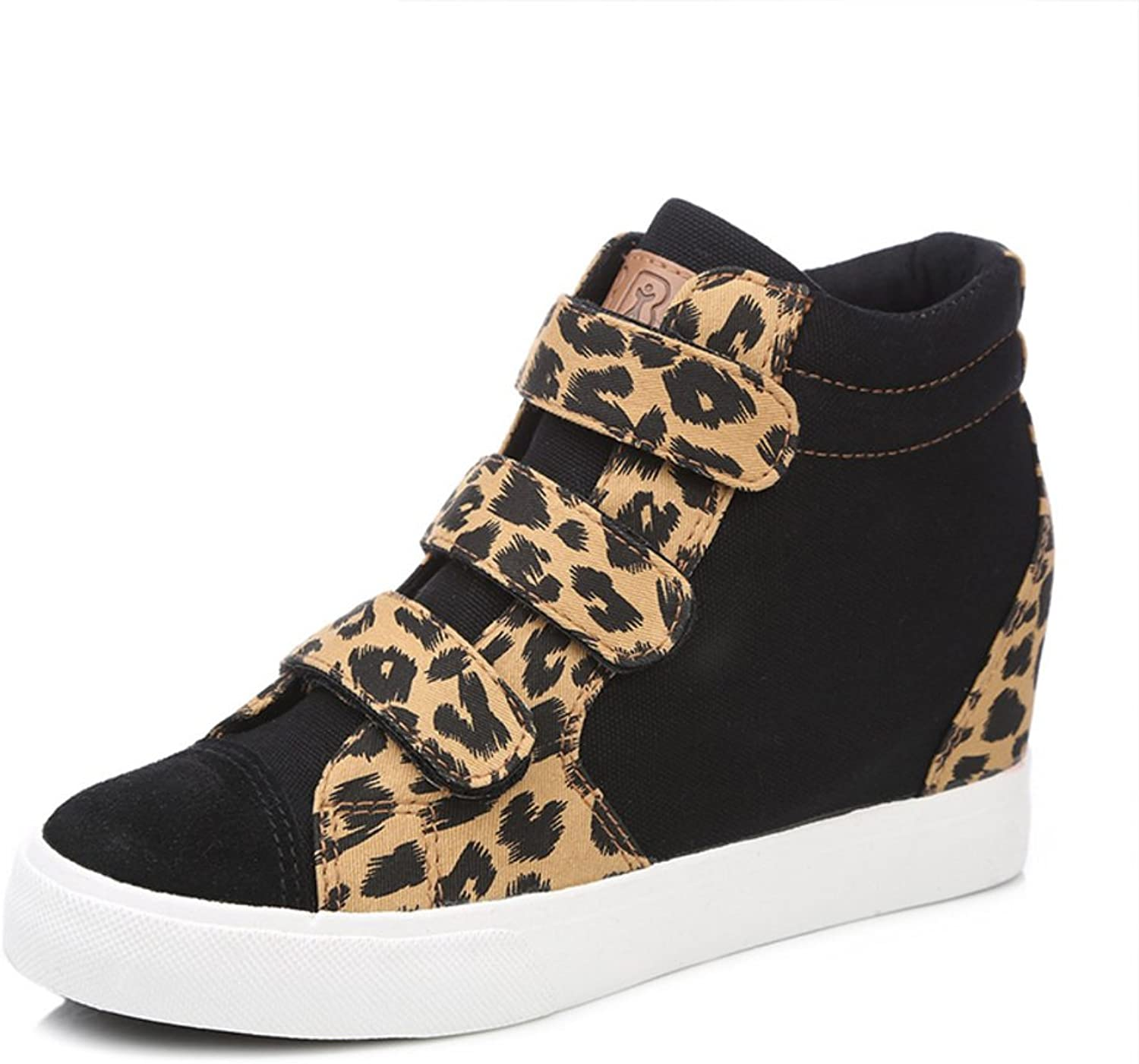 WLJSLLZYQ Women Canvas shoes Autumn Trend Leopard Print Velcro Womens shoes Increased in Thick-Soled shoes with high shoes