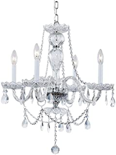 Hampton Bay Lake Point 4-Light Chrome and Clear Crystal Chandelier