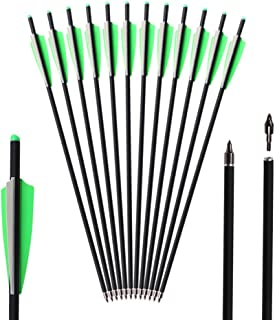 TOPARCHERY 12pcs Crossbow Bolts 20 inch Hunting Archery Carbon Arrow Crossbow Bolts Arrow with 4 inch Vanes and Replaced Arrowhead/Tip