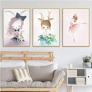 ZJMI Impression sur Toile,Lapin Nordique Deer Girl Toile Sweet Home Decor Photo Wall Art Poster Salon Chambre Enfant Décor...