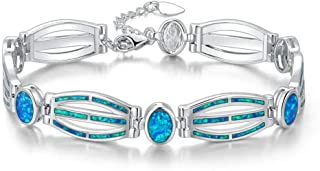 Fashion Sterling Silver or White Gold Plated Opal Bracelets for Bridal, Wedding, Prom, Party, Pageant, Evening Wear, Party Wear