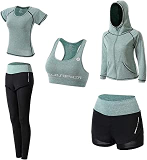 HOME-Nicer Sport Workout Outfit Set for Women Yoga Fitness Exercise Suits