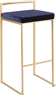 LumiSource Stackable Barstool in Gold and Blue Finish - Set of 2
