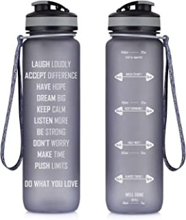 Artoid Mode 32oz Motivational Fitness Workout Sports Water Bottle with Time Marker & Measurements, Goal Marked Times Helps You Hydrate, Flip Top Non Leak Design BPA Free