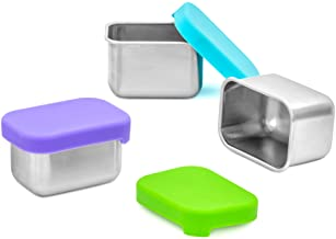 WeeSprout 18/8 Stainless Steel Condiment Containers   Set of 3 Small Dipping Sauce Cups (2.5 oz) with Lids   Pack in Kid/A...