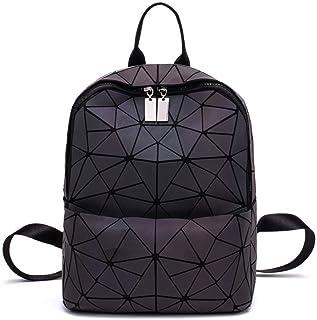 حقائب ظهر نسائية أنيقة ذات تصميم هندسي مضيء ومضيء للسفر، حقيبة ظهر مدرسية وكلية