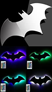 Bat LED Wall Light,Colorful Mirror Light,Remote Control Projection Night Light,Halloween Decorative Light,Suitable for Bedroom/KTV / Corridor/Background Wall, etc (Colorful)