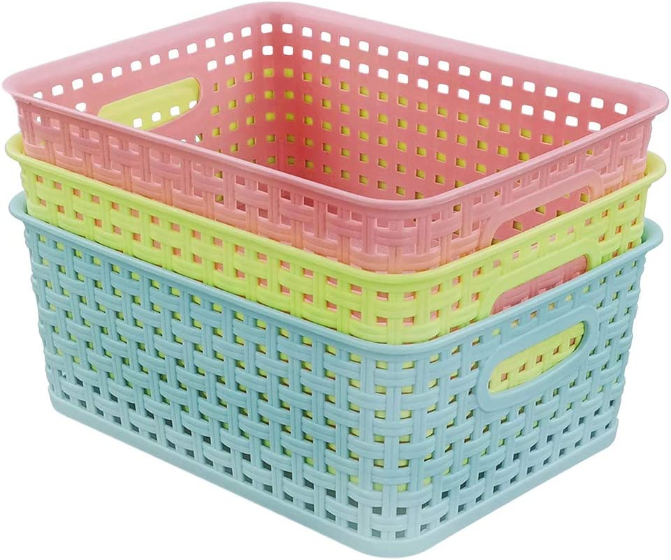 EudokkyNA Colored Plastic Rapid rise Weave Basket Excellent Set 6 Small of Or Pantry