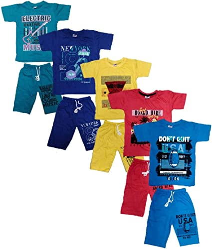 Boys Roundneck t Shirt Shorts 3 4 Set Dress Combo Pack of 5