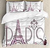 Ambesonne Paris Duvet Cover Set, Tower Eiffel with Paris Lettering Couple Trip Flowers Floral Design Print, Decorative 3 Piece Bedding Set with 2 Pillow Shams, Queen Size, Pink Plum