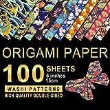 PaperKiddo Papel de origami 100 hojas 10 patrones Washi Papel bronceado de doble cara