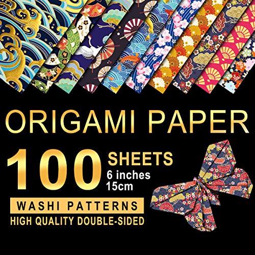 PaperKiddo Origamipapier Washi-Muster 100 Blatt 10 verschiedene Muster Doppelseitiger Faltpapier Bronzieren 15x15cm