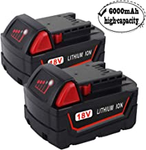 2 Pack 18V 6000mAh Replacemet Lithium ion Battery for Milwaukee Xc M18 M18B 48-11-1850 48-11-1815 48-11-1820 48-11-1852 48-11-1828 48-11-1822 48-11-1811 Cordless Tools Battery