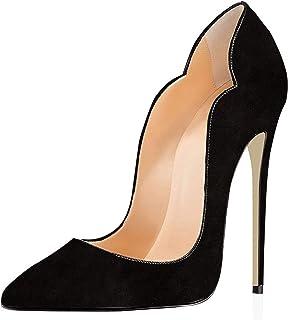 elashe Escarpins Femmes Chaussures Stiletto 12cm Talon Aiguille Grande Taille Laçage