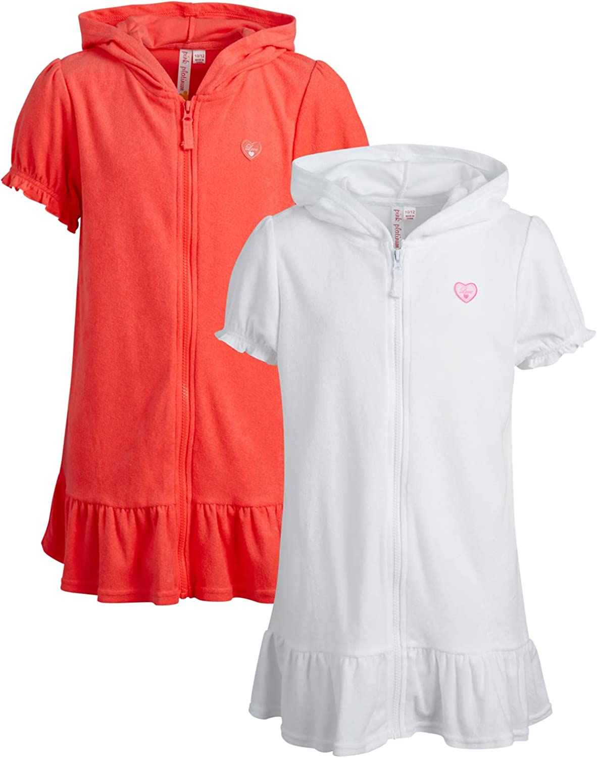 Pink Platinum Girls' Swim Cover-Up – 2 Pack UPF 50+ Hooded Zip-Up Terry Beach/Pool Robe: Clothing, Shoes & Jewelry