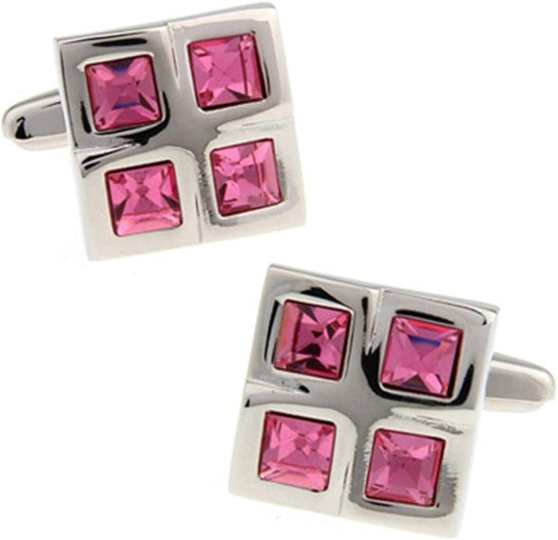 Daesar Cuff Links Copper Cufflink and Studs Crystal Square Cuff Link Mens Shirt Pink