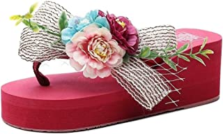 THE LONDON STORE Women's Multi-Color Flower EVA Platform Slippers Wedge Heels Sandals