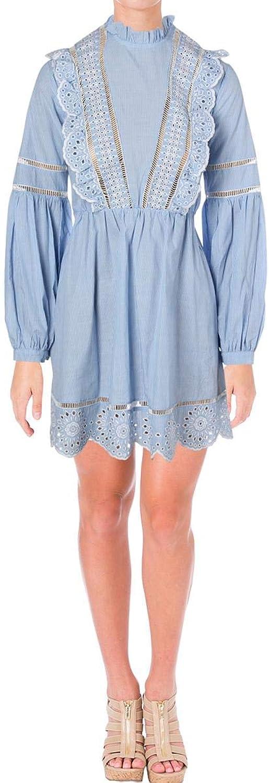 Aqua Womens Embroidered Ruffled Mini Dress
