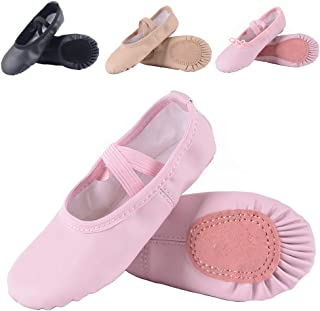 b406635b90f2 Leather Ballet Shoes for Girls/Toddlers/Kids, Full Sole Leather Ballet  Slippers/