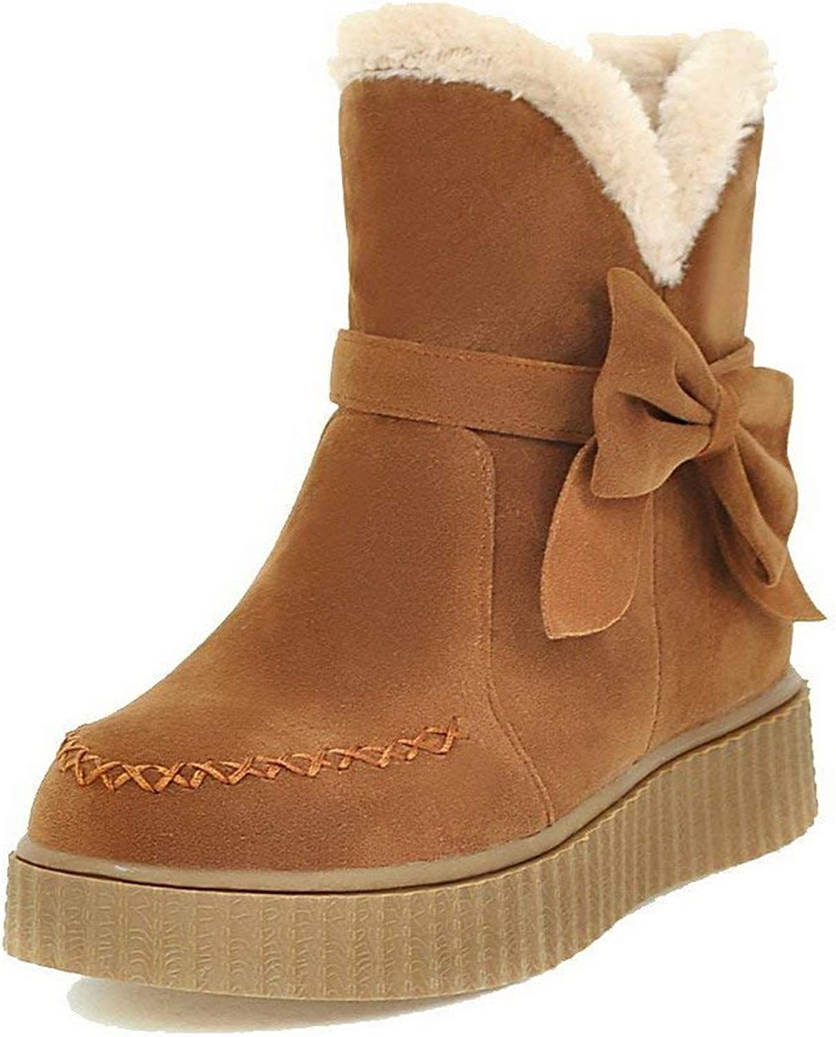 PRETTYHOMEL Women's Frosted Pull-On Round Closed Toe Low-Heels Solid Boots