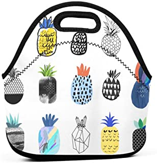 BJjiayu Insulated And Reusable Lunch Bags Tote Bag For Womens Men,Small Lunch Box Aloha Collection Of Cute Pineapples With Different Marble Vintage Food Summer Fruit