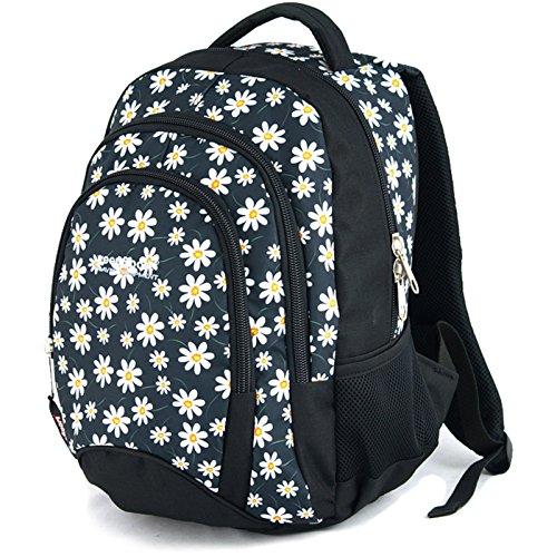 YeepSport Schulrucksack für Schule, Rucksack für Arbeit und Freizeit 30l, Jugendliche Mädchen und Jungs - 21811 Flowers White