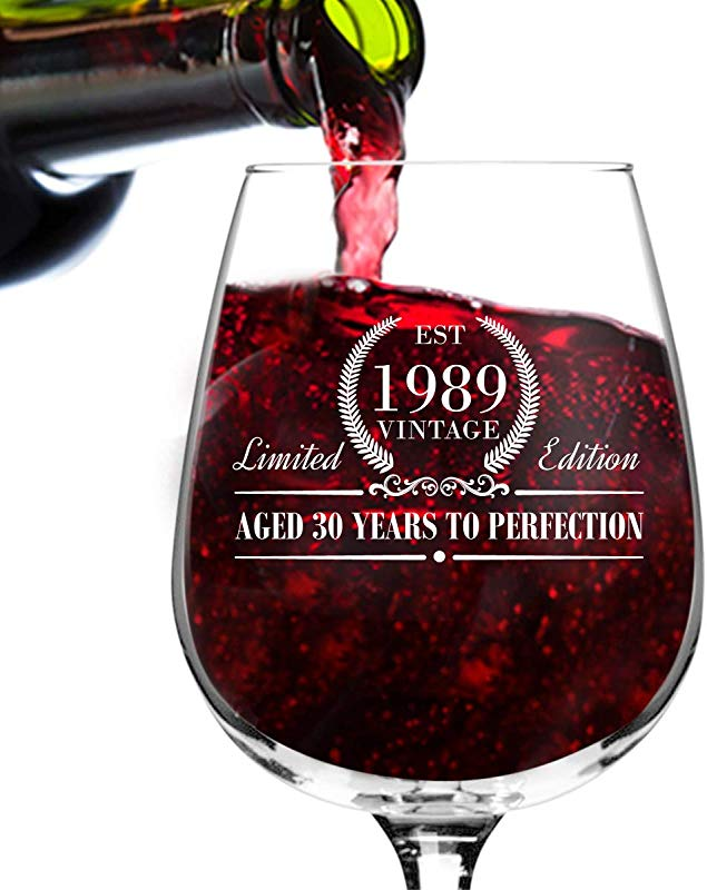 1989 Vintage Edition Birthday Wine Glass For Men And Women 30th Anniversary 12 Oz Elegant Happy Birthday Wine Glasses For Red Or White Wine Classic Birthday Gift Reunion Gift For Him Or Her