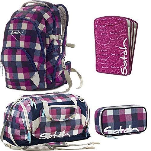 satch Air by Ergobag Berry Carry 4-teiliges Set Rucksack, Sporttasche, Schlamperbox & Heftebox Lila