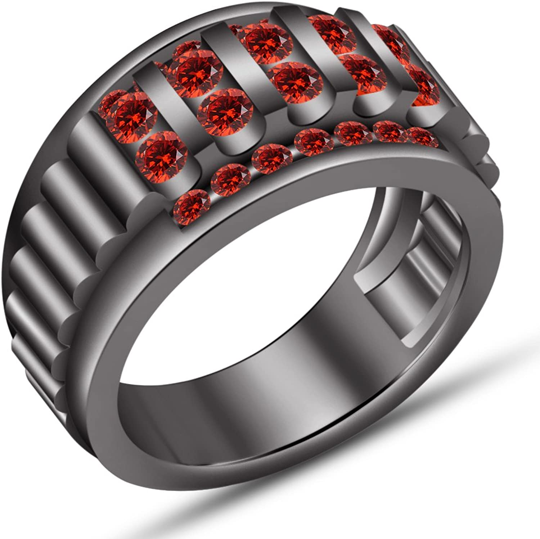 venta con descuento Vorra Vorra Vorra Fashion Anillo de boda para hombre, plata de ley 925, corte rojoondo, granate rojo  mas preferencial