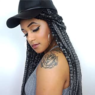 LOSMOEER 5Pcs/Lot 24Inch Braiding Hair Kanekalon Synthetic Ombre Jumbo Braids Crochet Hair Box Braid Ombre Colors For Crochet Braids Senegalese Twists(2 Tone Ombre Black to Dark Grey)