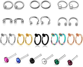 PiercingJ 28pcs Stainless Steel 16G Crystal Nose Rings 8mm 10mm Hoop Nose Studs Ear Helix Cartilage Tragus Daith Lip Labret Eyebrow Ring Bar Captive Ring Body Piercing Jewelry