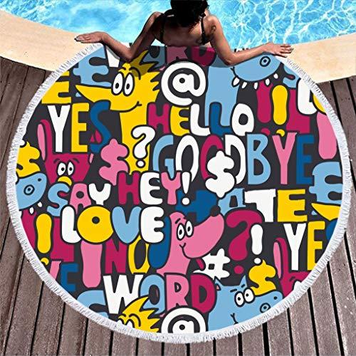 N/A - Toalla de playa redonda con flecos y diseño de letras y cuadros, para yoga, lavadora, 59' D, Fibra de poliéster, blanco, 150 cm