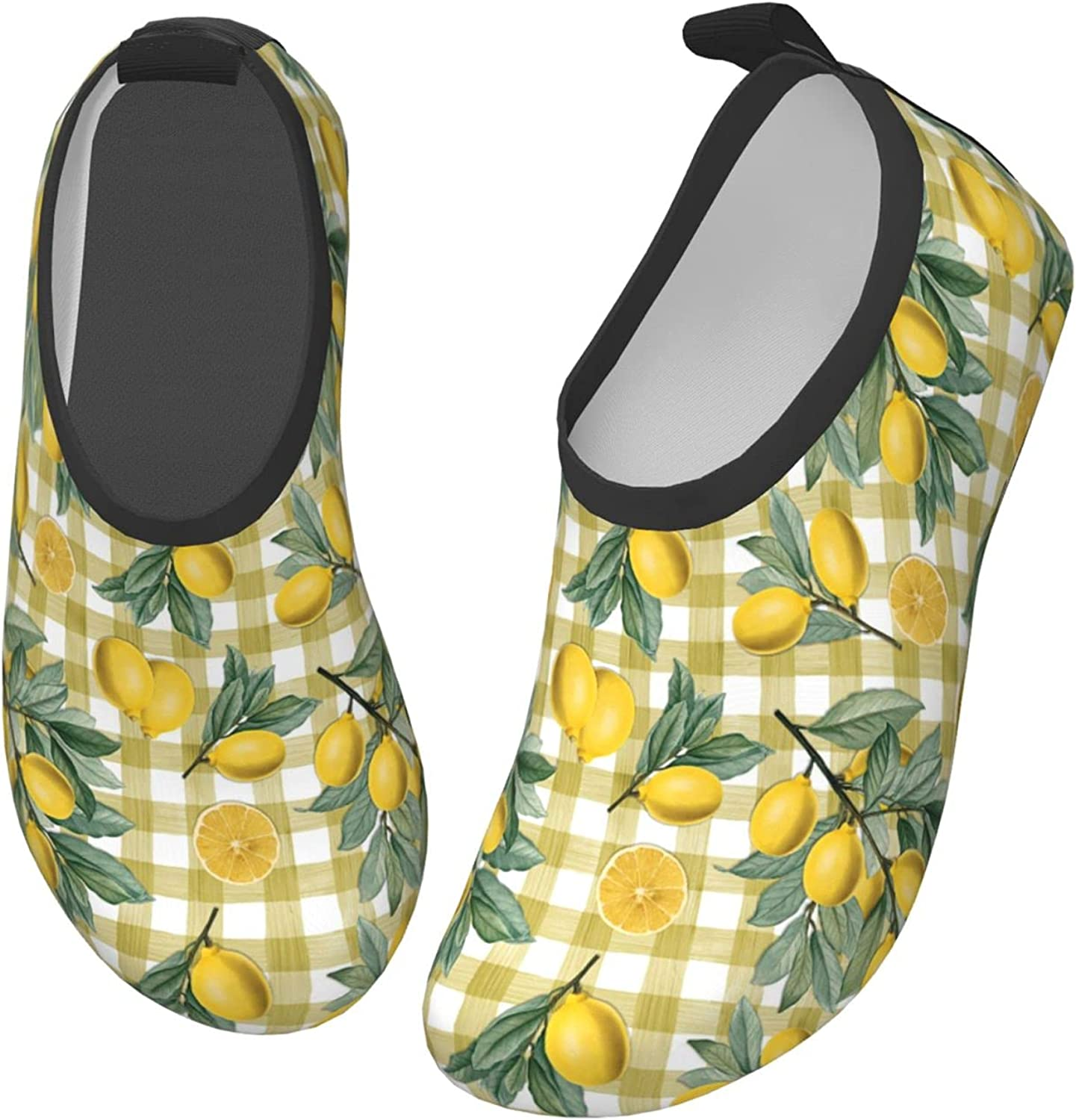 Lemon Fruit Yellow Check Leaf Children's Water Shoes Feel Barefoot for Swimming Beach Boating Surfing Yoga