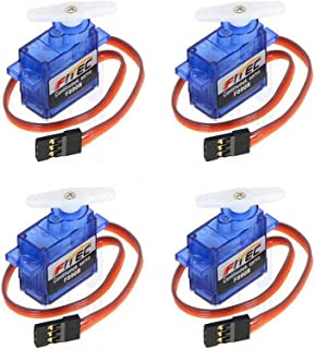 Onyehn New 9G Micro/Mini Servo Feetech FS90R Micro servo Motor with arm 6V 1.5kg Analog 360 Degree Continuous Rotation servo fit for for Robotic Helicopter Airplane Boat Drones(4 Pack)