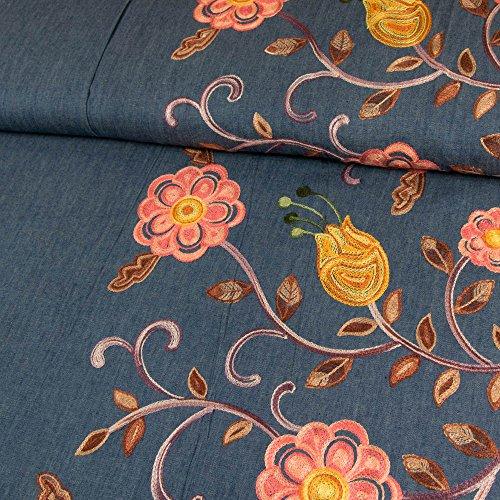 Jeansstoff einseitige Bordüre Blumen Stickerei rosa Modestoffe - Preis gilt für 0,5 Meter -