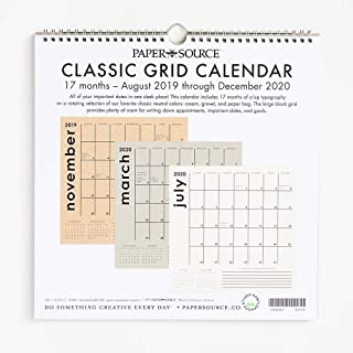 Paper Source 2019-2020 17 Month Classic Grid Calendar, 12