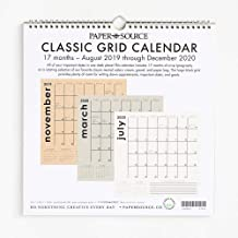 Paper Source 2019-2020 17 Month Classic Grid Calendar, 12