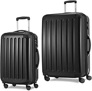 HAUPTSTADTKOFFER Luggages Sets Glossy Suitcase Sets Hardside Spinner Trolley Expandable TSA (20'28') Black
