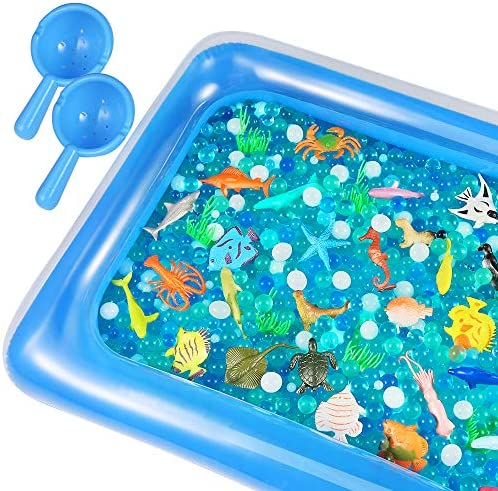 Auihiay 48 Pieces Ocean Sea Animals Set Include Ocean Animals Inflatable Water Mat and Ocean product image