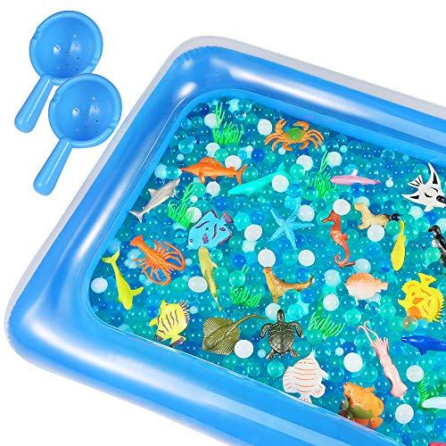 Auihiay - Juego de 48 Piezas de Animales Marinos Que Incluyen Alfombrilla de Agua Inflable con Animales del océano y Cuentas de Agua del océano, Juguetes sensoriales para la educación de los niños