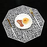 Homcomoda Place Mats Set of 12 Pressed Vinyl Metallic Placemats Wedding Accent Centerpiece Table Mats Snow for Kitchen Table ( Silver )