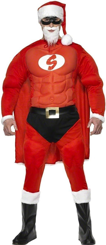 Super Santa Muscle Costume Father Christmas Costume Father Christmas Santa Claus Costume Christmas Fancy Dress Costume Super Hero