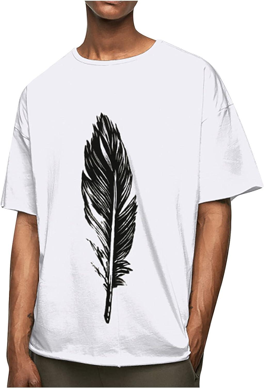 Men's Casual Loose Short Sleeve Crewneck Leaf Printed Summer T-Shirt Blouse Top