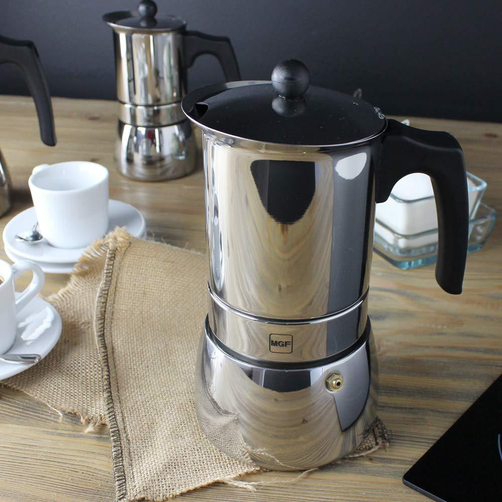 MAGEFESA Genova – La cafetera MAGEFESA Genova está Fabricada en Acero Inoxidable 18/10, Compatible con Todo Tipo de Cocina. Fácil Limpieza (Cromado, 10 Tazas): Amazon.es: Hogar