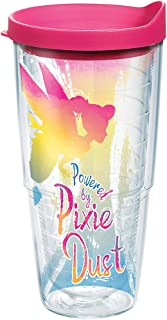 Tervis 1269236 Disney - Tinkerbell Pixie Dust Insulated Tumbler with Wrap and Fuschia Lid, 24 oz, Clear