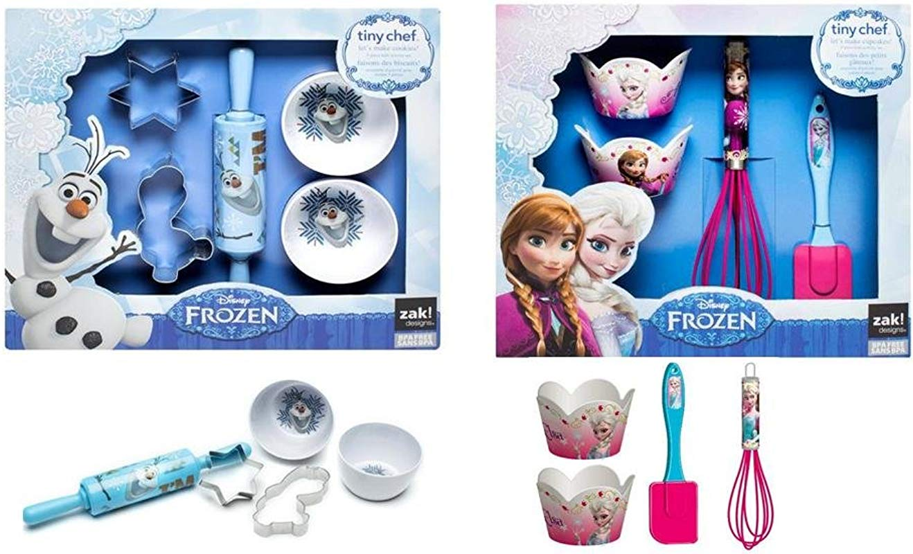 Disney Frozen Real Cupcakes Cookies Baking Set Bundle 4 Pc Elsa Anna Cupcakes And 5 Pc Olaf Cookies Set