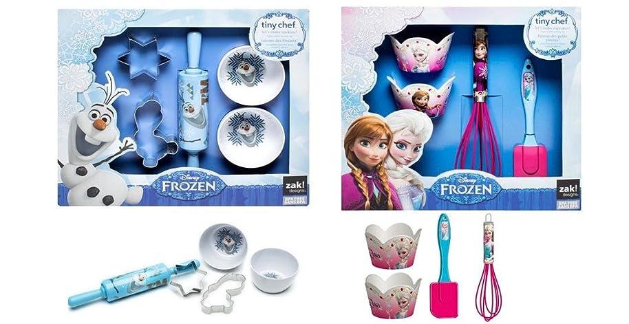Disney Frozen Real Cupcakes / Cookies Baking Set Bundle - 4 pc Elsa Anna Cupcakes and 5 pc Olaf Cookies Set