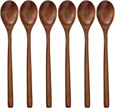 Wooden Spoons, 6 Pieces Wood Soup Spoons for Eating Mixing Stirring Cooking, Long Handle Spoon with Japanese Style Kitchen Utensil, ADLORYEA Eco Friendly Table Spoon