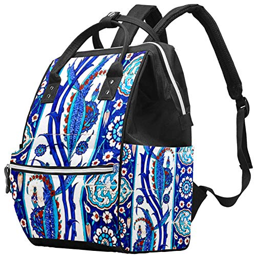 Mochilas Bolsa de pañales Mochila para portátil Ligero Senderismo Camping Mochila de Viaje para Mujeres Turco Azul Floral Flor Vintage